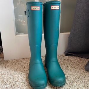 Turquoise teal tall hunter boots hunter socks